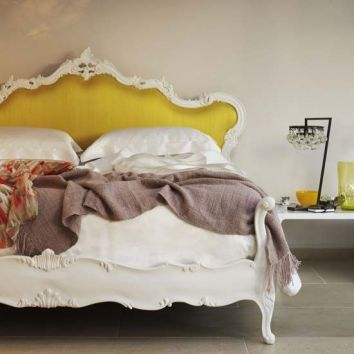Pantone Fall 2014 Color Report Misted Yellow Upholstered Headboard in Bedroom