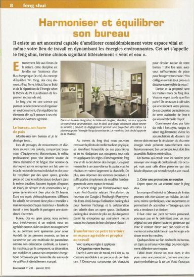 Harmoniser et équilibrer son bureau - BIOCONTACT N°231 – 2013 écrit par Chris PALETTE & Guillaume REY