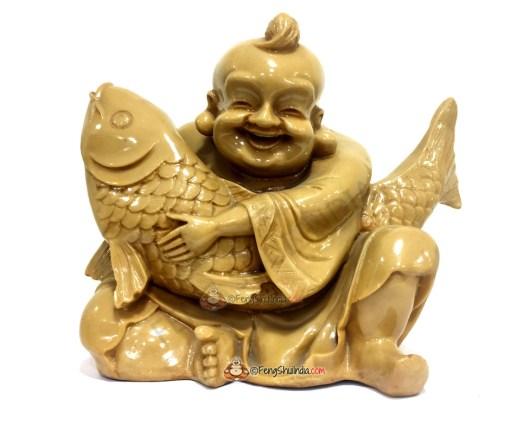 Laughing Buddha with Wealth Carp Fish