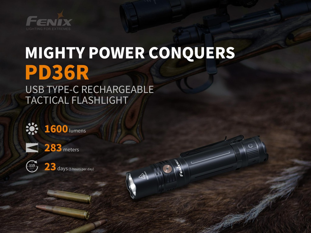 hight resolution of fenix pd36r 1600 lumens rechargeable tactical flashlight