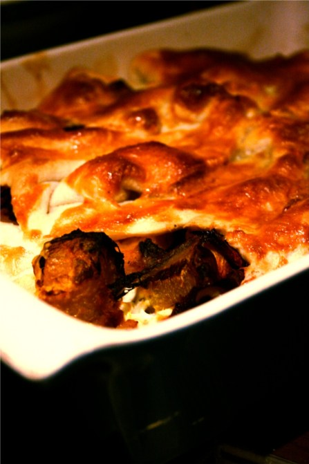 squash, cheese, beetroot and caramelised onion pie