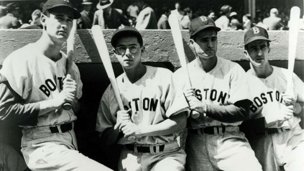 Ted Willaims, Dom DiMaggio, Bobby Doerr, and Johnny Pesky circa 1946