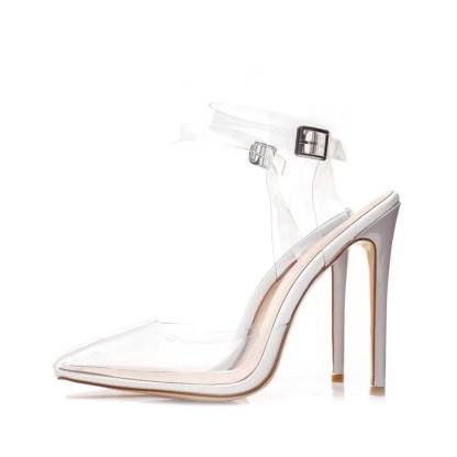 The Ferago Vert Transparent PVC Heels 2