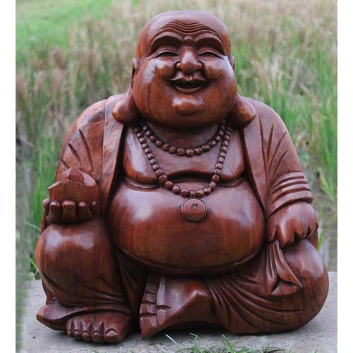 Laughing Lucky Sitting Wooden Buddha Extra Large Ferailles