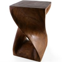 Contemporary Twisted  Solid Acacia Wood  Side Table ...