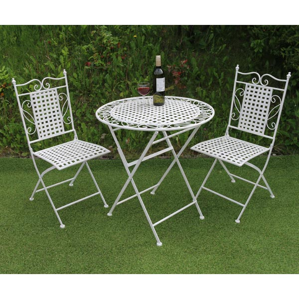 White Fretwork Metal Table Amp Chair Set 1x Table Amp 2x