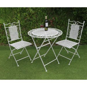 metal table chair set 1x table 2x folding chairs ferailles