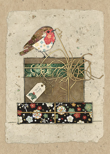 Robin Gifts Bug Art Christmas Card Ferailles