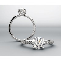 Diamond Accented Engagement Ring for .75 Carat Round Diamond