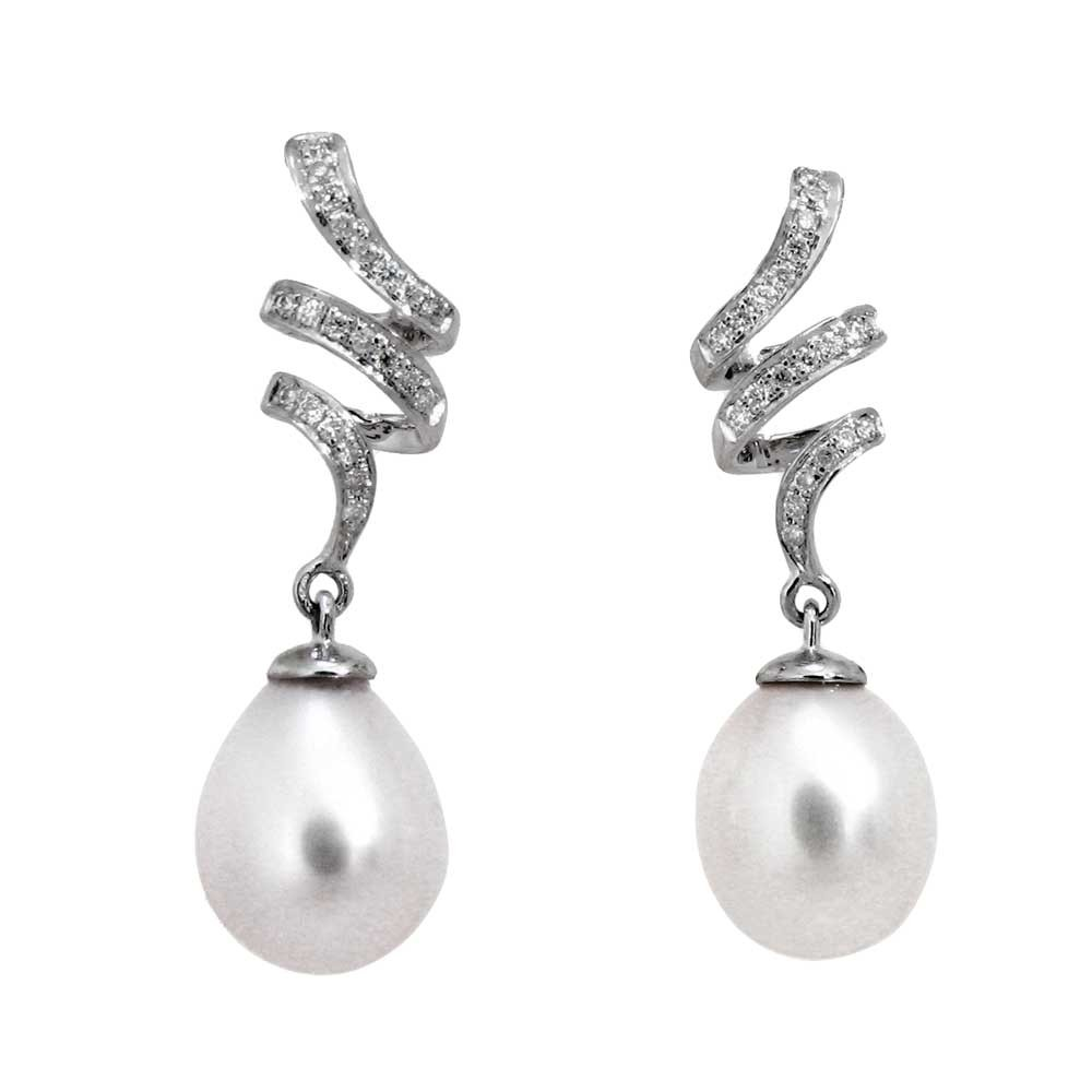 Pearls with Diamonds in 14kt White Gold Earrings