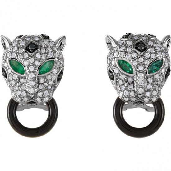 Diamond and Emerald Leopard Earrings