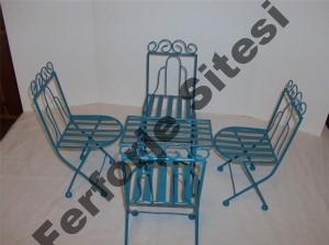 Ferforje masa sandalye