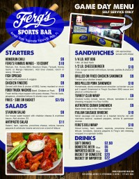 Patio Grill Menu | Ferg's Sports Bar