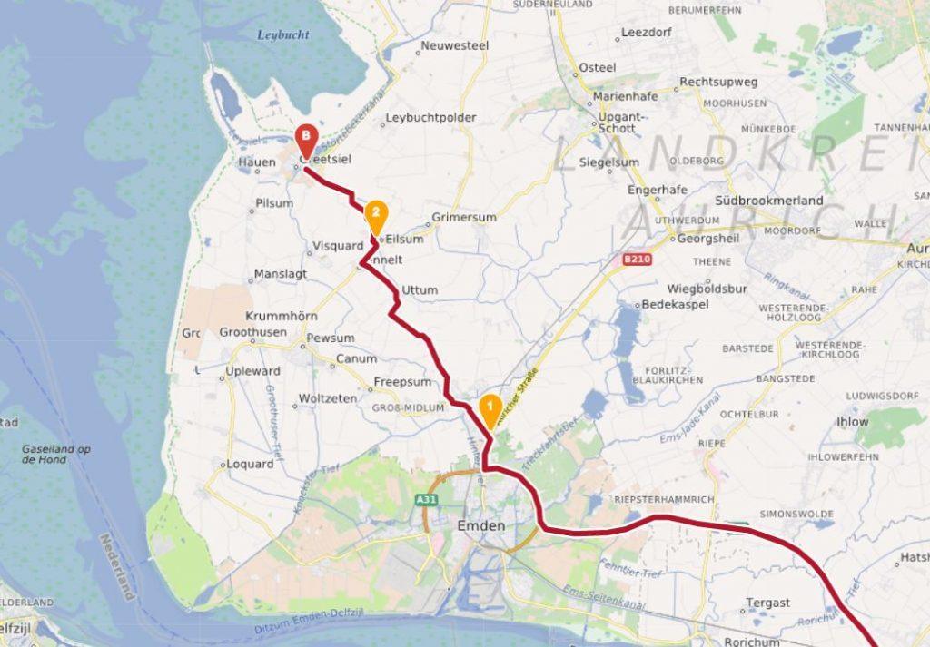 Karte Autobahnanfahrt Emden Greetsiel