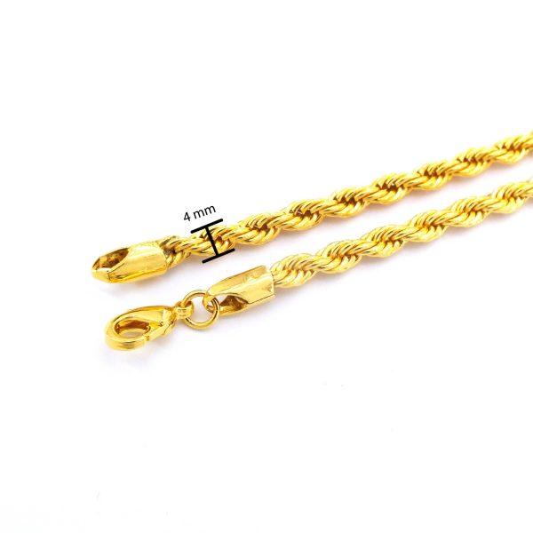 FerizZ Altın Kaplama 4mm Kalınlık Burgu Zincir