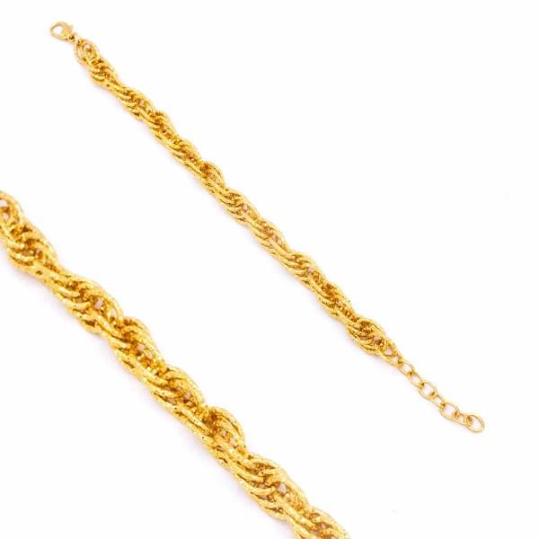 FerizZ 22 Ayar Altın Kaplama Lazerli Burgu Halat Bayan Bileklik 19cm-23cm Boy BLK-263