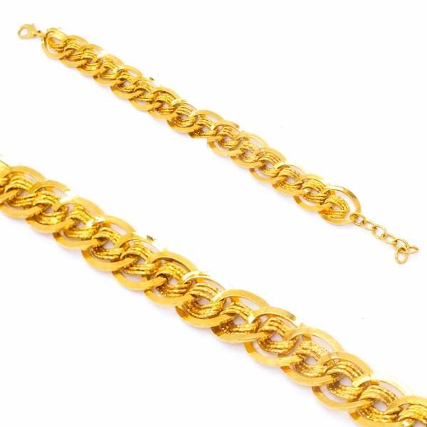 FerizZ 22 Ayar Altın Kaplama Sarmal Samanyolu Kadın Şık Bileklik 18cm-21.5cm Boy BLK-255