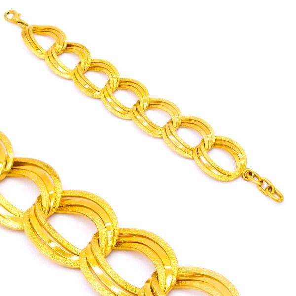 Altın Kaplama Büyük Halkalı Samanyolu Kadın Bileklik-18cm-20cm Boy BLK-205