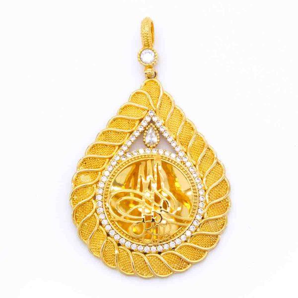 Altın Kaplama Tuğralı Kolye Ucu TGR-157