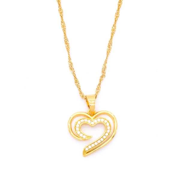 Altın Kaplama Kalp Motifli Taşlı Kolye 45cm-50cm KLY-189