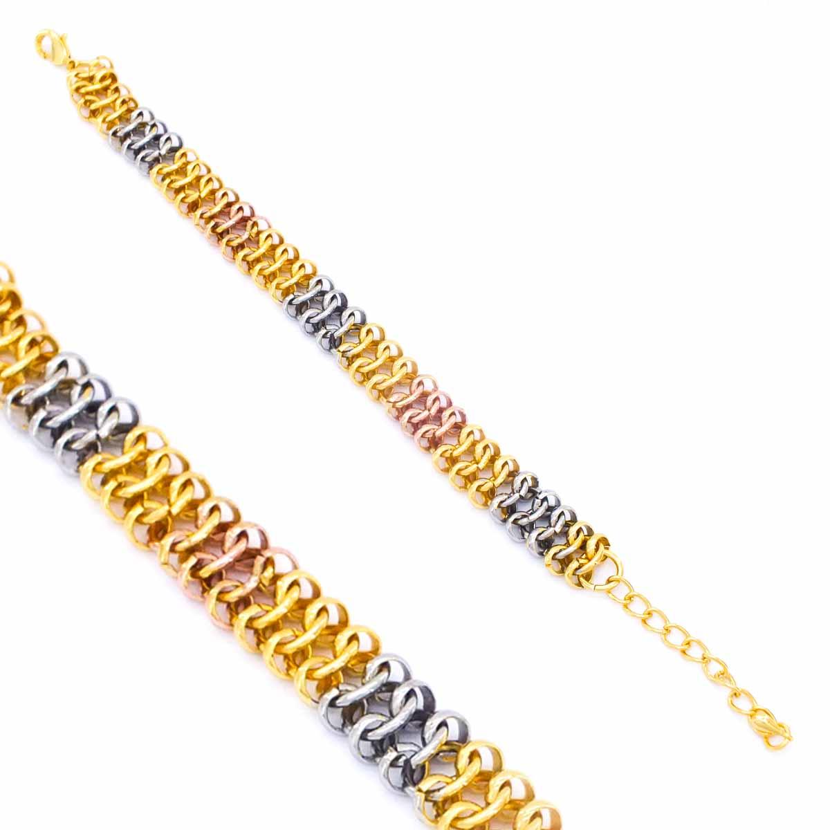 FerizZ 22 Ayar Altın Kaplama Üç Renk Şık Bayan Bileklik 21cm-25cm Boy BLK-359