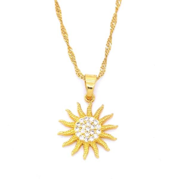 FerizZ Altın Kaplama Güneş Bayan Kolye KLY-104