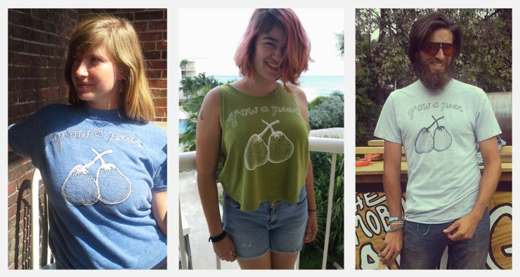 "Our ""Grow a Pear"" T-shirts were born from the farm to home kitchen & recycled fashion movements in Willamette Valley one year ago. The design is illustrated by Tara Whitsitt, creator of Fermentation on Wheels."