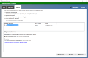 Windows defender detectando un fichero infectado.