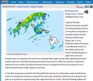 Maui Hawaii - Wetterinformationen im Internet zu den Thunderstorms