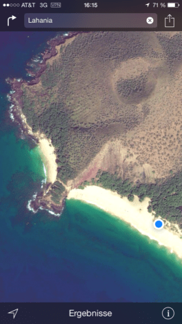 Maui Hawaii - Big Beach und Little Beach von oben (Quelle: google earth)