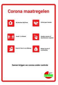 Corona maatregelen poster Wijkcentrum de Alkenhorst