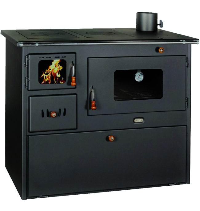 Cucina a legna in acciaio Lux 50 con forno a legna Kw 16