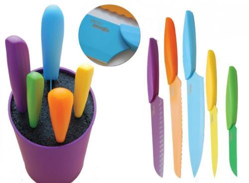 Ceppo Coltelli da cucina in acciaio e plastica Brio pz. 5