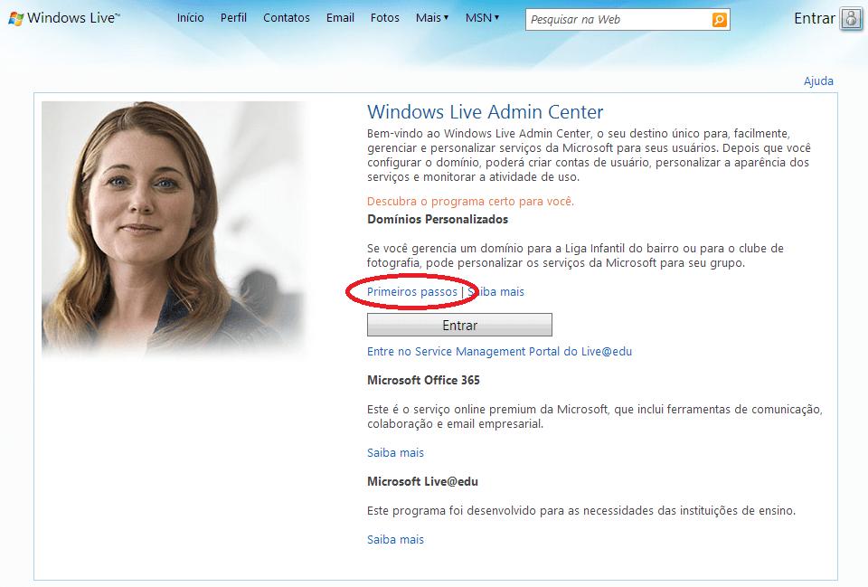 Criar email grátis no Windows live
