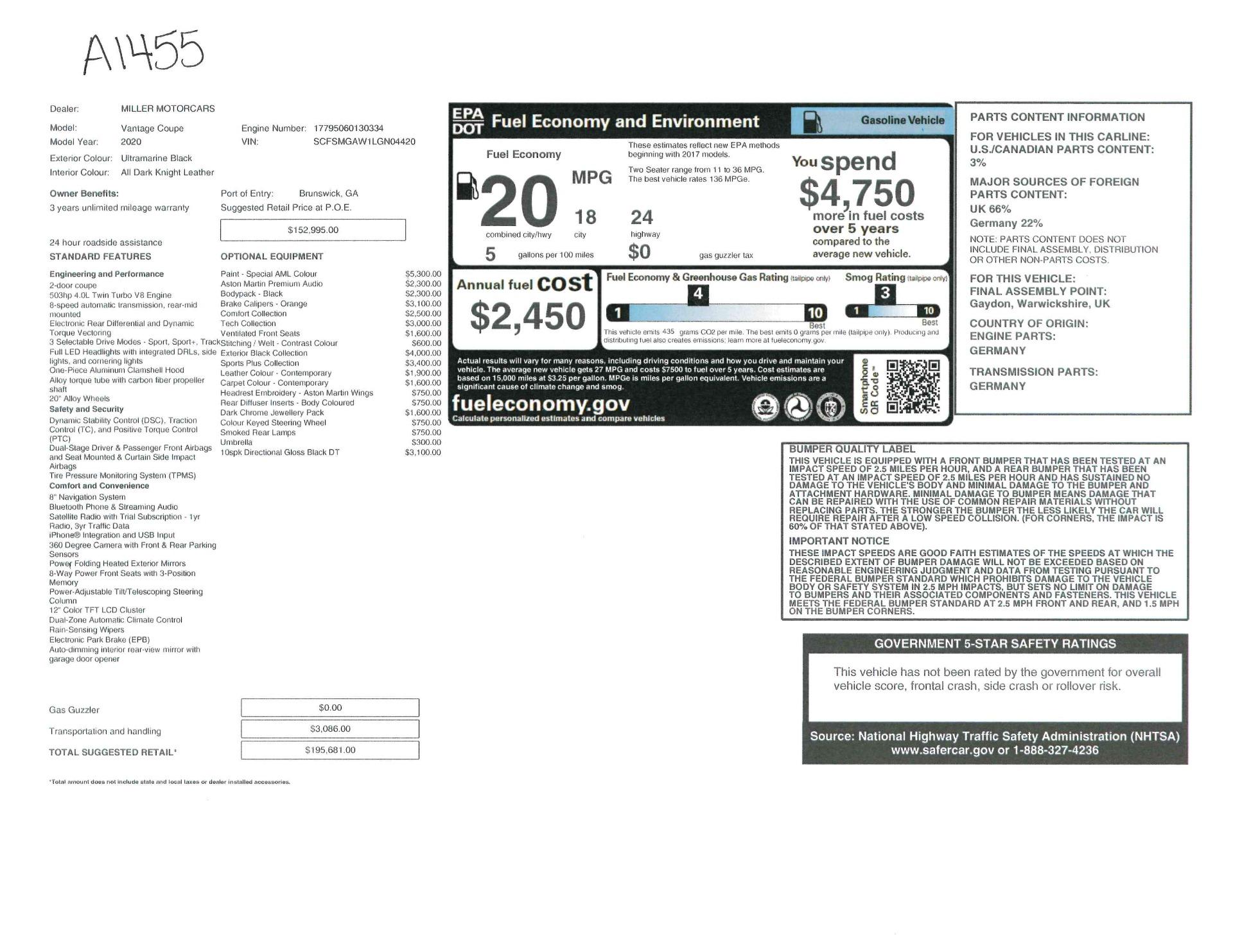 New 2020 Aston Martin Vantage Coupe For Sale $195,681