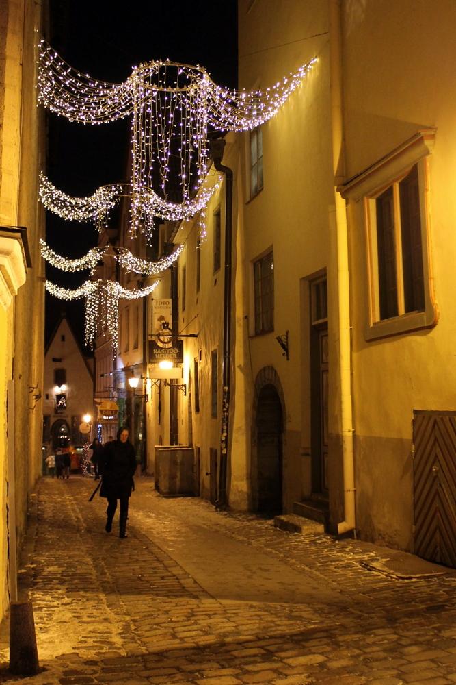 Twinkling angels light the way in medieval Tallinn, Estonia