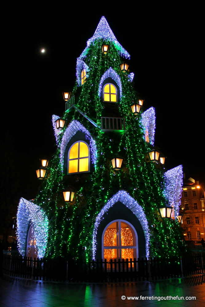 A fantastic Christmas tree in Vilnius, Lithuania