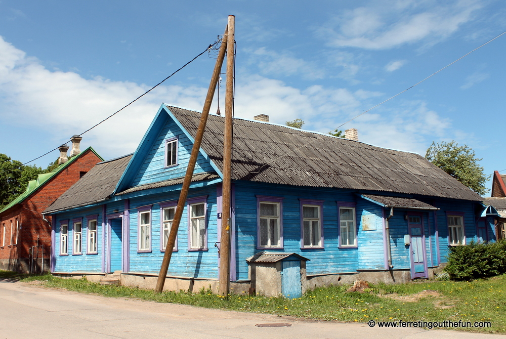 Blue Wooden House in Latvia
