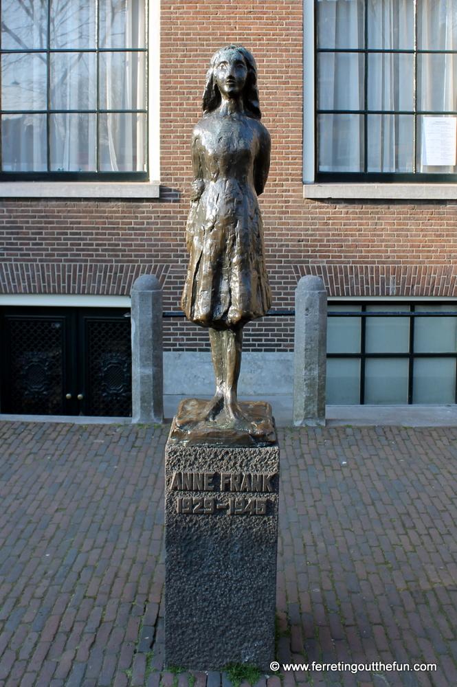A statue of Anne Frank in Amsterdam