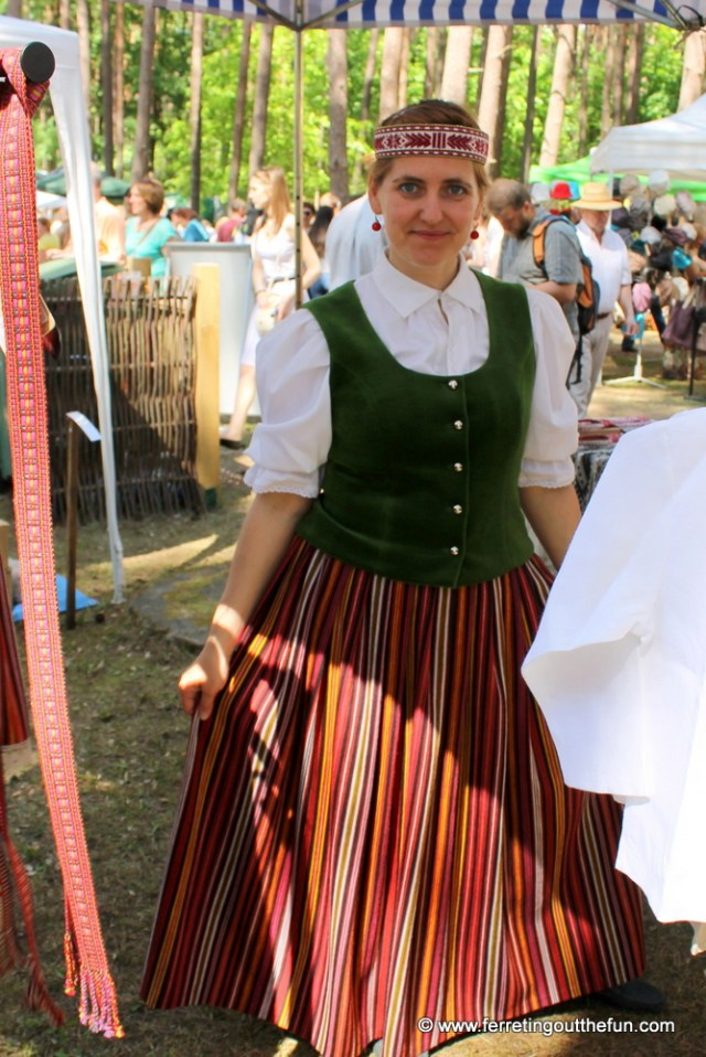 A Latvian woman in traditional national costume