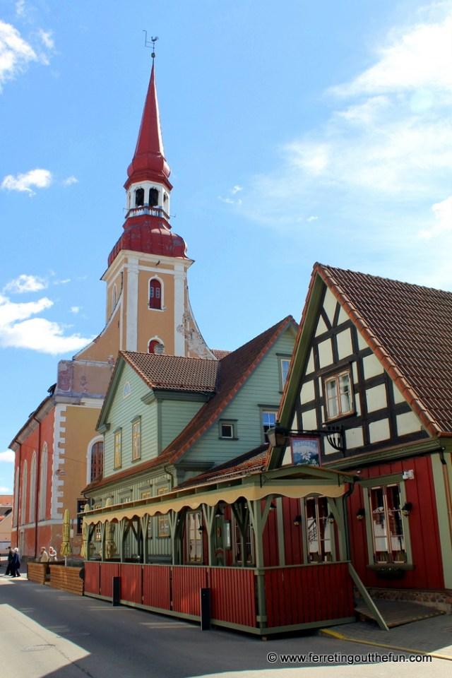 The colorful architecture of Old Parnu, Estonia.