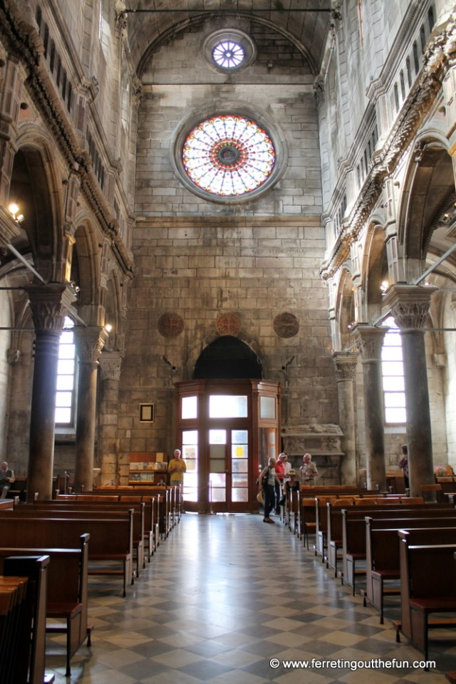 The stone interior of the Cathedral of St James in Sibenik, Croatia