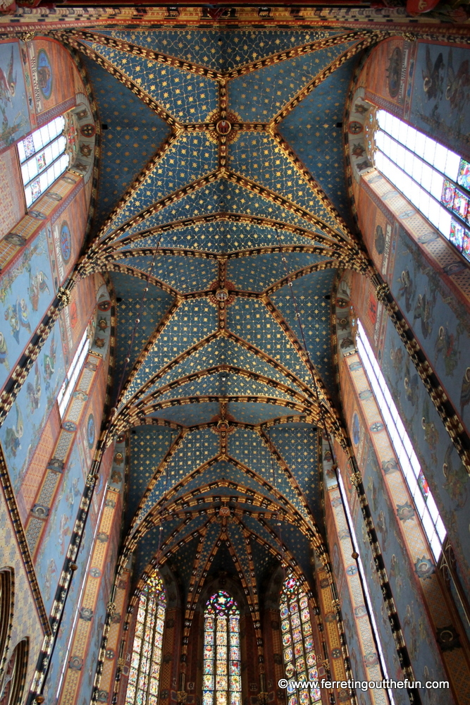 Beautiful star painted ceiling of St Marys Basilica in Krakow, Poland