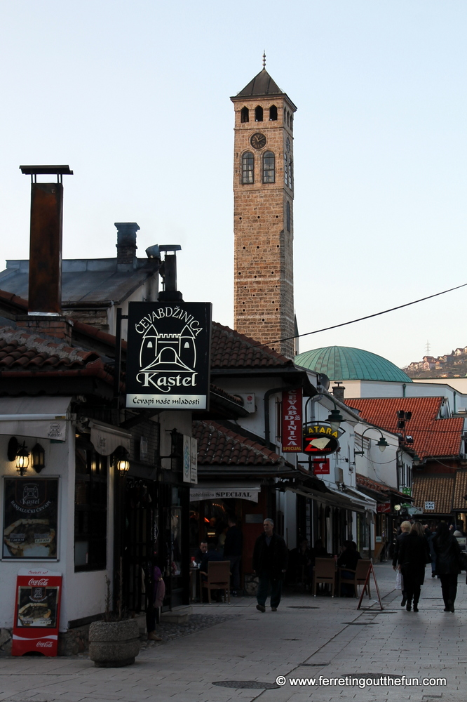 16th century clock tower in old town Sarajevo, Bosnia and Herzegovina