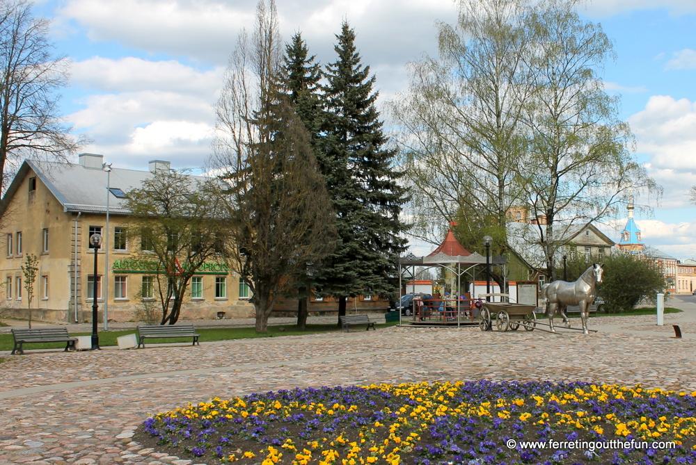 Jekabpils old market square