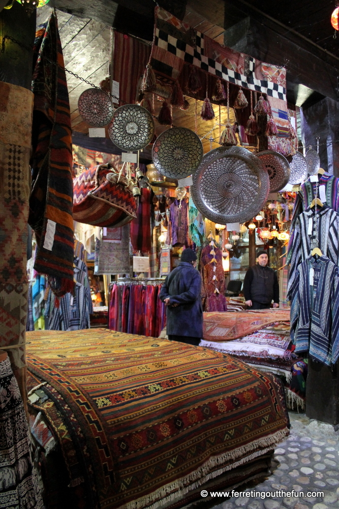 A souvenir shop selling Persian carpets and copper plates in old town Sarajevo, Bosnia and Herzegovina