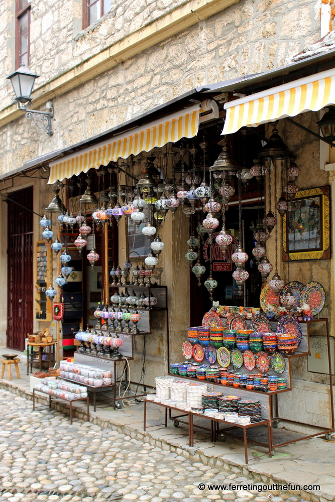 A colorful souvenir shop in Mostar, Bosnia and Herzegovina