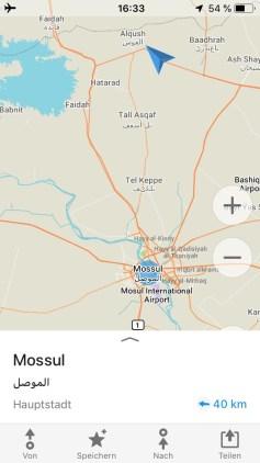 40 Kilometer bis nach Mossul – fast ein Steinwurf entfernt
