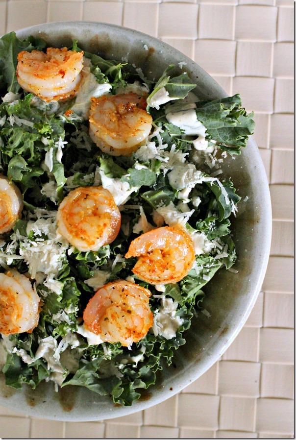 kale Caesar salad with shrimp
