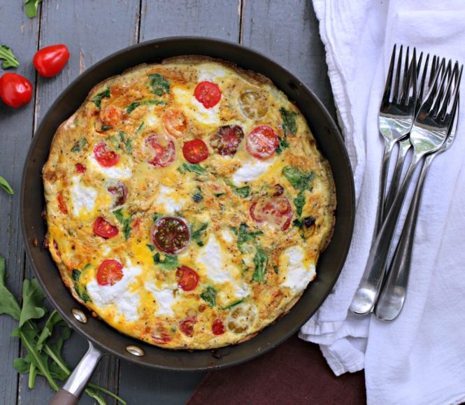 cherry tomato and ricotta frittata